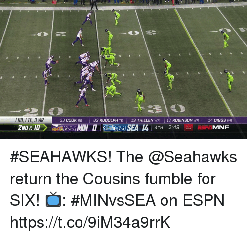 Espn, Memes, and Seahawks: IRB, I TE, 3 WR  2ND &10  33 COOK RB  82 RUDOLPH TE  19 THIELEN WR    17 ROBINSON  WR  14 DIGGS WR  4TH 2:49 10 E5FIMNF #SEAHAWKS!  The @Seahawks return the Cousins fumble for SIX!  📺: #MINvsSEA on ESPN https://t.co/9iM34a9rrK