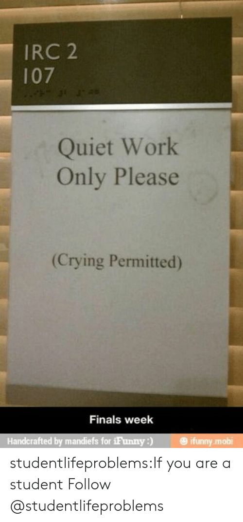 Ifunny Mobi: IRC 2  107  Quiet Work  Only Please  (Crying Permitted)  Finals week  Handcrafted by mandiefs for iFunny) ifunny mobi studentlifeproblems:If you are a student Follow @studentlifeproblems​
