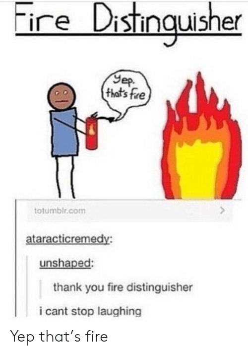 cant stop laughing: ire Distingusher  Yep  (that's fre  totumblr.com  ataracticremedy:  unshaped:  thank you fire distinguisher  i cant stop laughing Yep that's fire