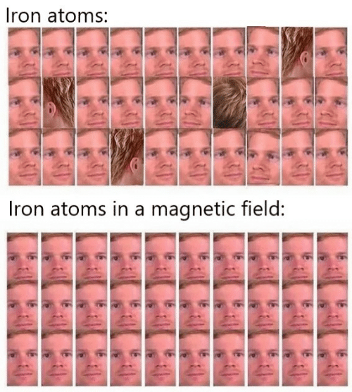 iron: Iron atoms:  Iron atoms in a magnetic field: