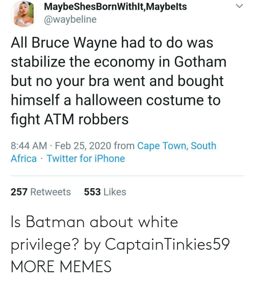 Batman: Is Batman about white privilege? by CaptainTinkies59 MORE MEMES