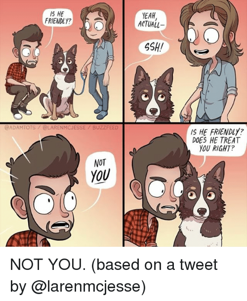 Memes, Yeah, and 🤖: IS HE  FRIENDLY?  YEAH  ACTUALL  SSH!  @ADAMTOTS/@LARENMCJESSE/ BUZZ  IS HE FRIENDLY?  DOES HE TREAT  YOU RIGHT?  NOT  YOU NOT YOU. (based on a tweet by @larenmcjesse)