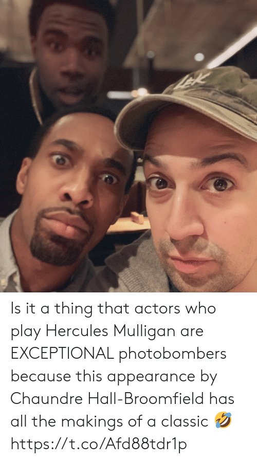 exceptional: Is it a thing that actors who play Hercules Mulligan are EXCEPTIONAL photobombers because this appearance by Chaundre Hall-Broomfield has all the makings of a classic 🤣 https://t.co/Afd88tdr1p