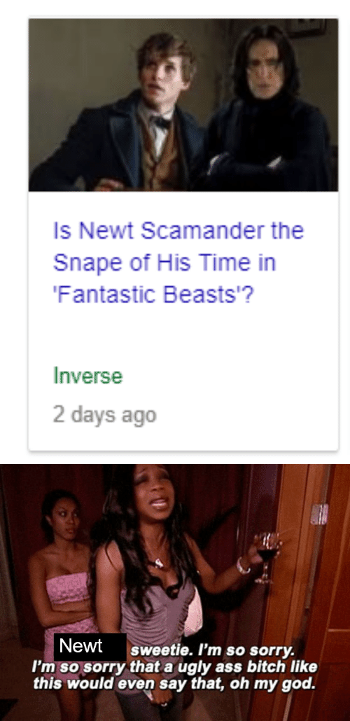 fantastic beasts: Is Newt Scamander the  Snape of His Time in  Fantastic Beasts'?  Inverse  2 days ago   Newt sweetie. I'm so sorry.  I'm so sorry that a ugly ass bitch like  this would even say that, oh my god.