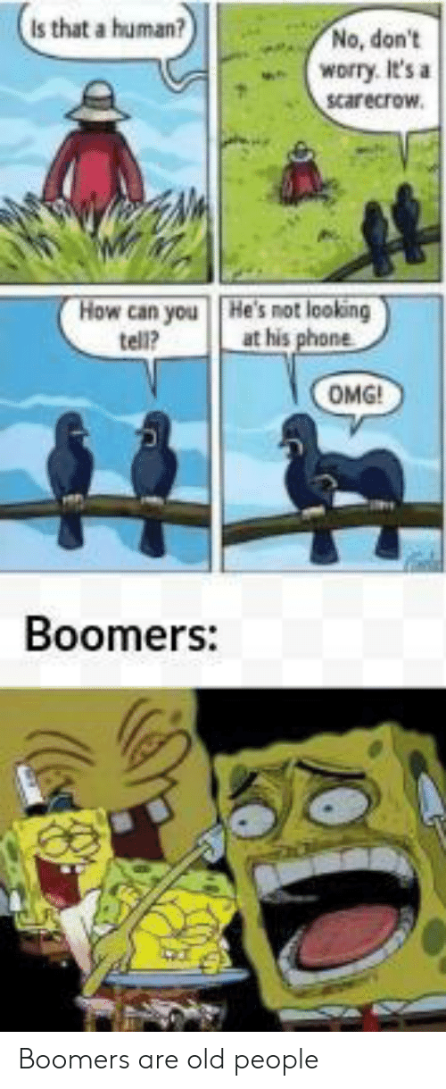 Old People: Is that a human?  No, don't  worry. It's a  scarecrow.  How can you  tell?  He's not looking  at his phone  OMG!  Boomers: Boomers are old people