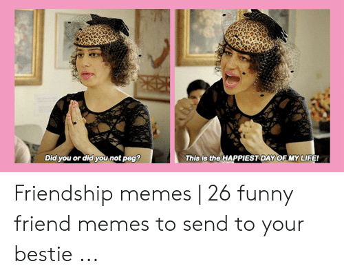 Funny, Life, and Memes: is the  Did you or did you not peg  This  HAPPIESTDAY OF MY LIFE! Friendship memes | 26 funny friend memes to send to your bestie ...