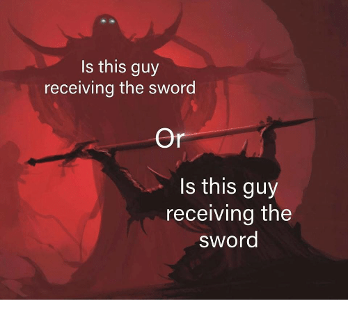 the sword: Is this guy  receiving the sword  Or  s this guy  receiving the  sword