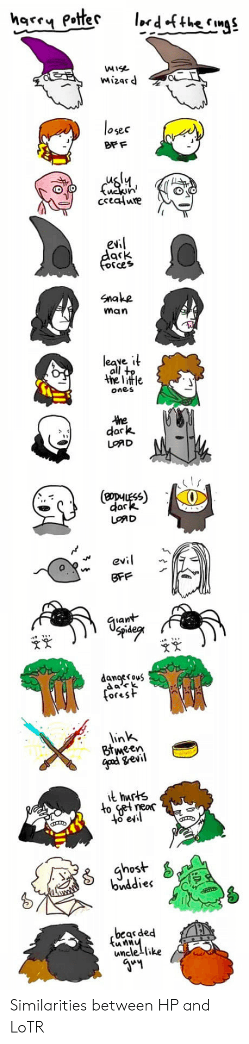 Snake, Sad, and Lotr: ise  mizar d  osec  DF F  evi  Cces  Snake  man  the little  one s  dark  (eopHUESS)  dar  SAD  ev  SFF  an  danoerouS  da々k  in  Btween  neor  lo e  host  bviddies  beas ded  unclelike Similarities between HP and LoTR