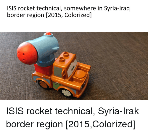 Isis, Iraq, and Syria: ISIS rocket technical, somewhere in Syria-Iraq  border region [2015, Colorized] ISIS rocket technical, Syria-Irak border region [2015,Colorized]