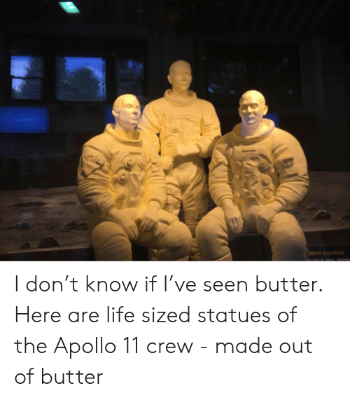 Apollo: ISPLAY SCULPTED B I don't know if I've seen butter.  Here are life sized statues of the Apollo 11  crew - made out of butter
