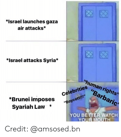 """Syria: *Israel launches gaza  air attacks*  *Israel attacks Syria*  """"human rights'  """"Barbaric  """"Boycott!!  Syariah Law *  iahi ^Oses Celebrities  YOU BETTER WATCH  YOUR MOUTH Credit: @amsosed.bn"""