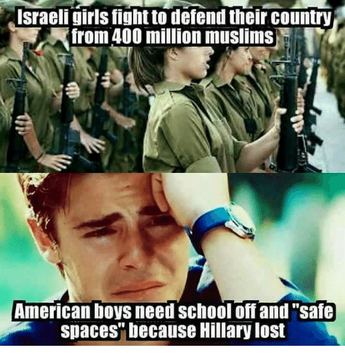 "Muslim American: Israeli girls fight to defend their country  Afrom 400 million muslims  American boys need School off and ""safe  spaces"" because Hillary lost"