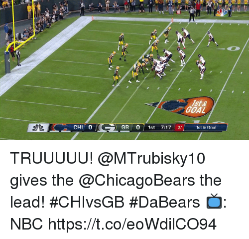Memes, Goal, and 🤖: ist&  GOAL  CHI O  GB 0 st 7:17 :07  1st & Goal TRUUUUU!  @MTrubisky10 gives the @ChicagoBears the lead! #CHIvsGB #DaBears  📺: NBC https://t.co/eoWdilCO94