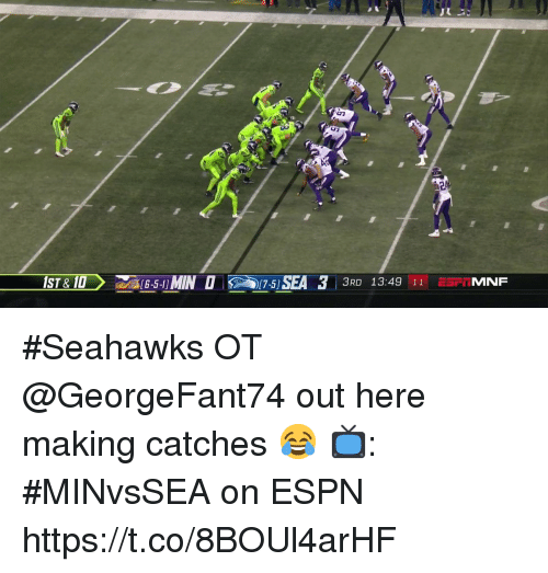 Espn, Memes, and Seahawks: IST& OMIN15) SEA  75) SEA 33  3RO 13:49 11NF  3RD 13:49 11 E5FTMNF #Seahawks OT @GeorgeFant74 out here making catches 😂  📺: #MINvsSEA on ESPN https://t.co/8BOUl4arHF