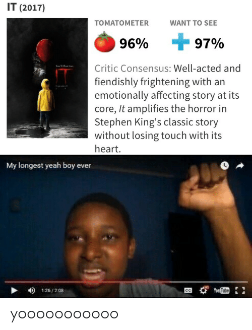 the horror: IT (2017)  TOMATOME  TER  WANT TO SEE  96%  7%  Critic Consensus: Well-acted and  fiendishly frightening with an  emotionally affecting story at its  core, It amplifies the horror in  Stephen King's classic story  without losing touch with its  heart.   My longest yeah boy ever  126/208 yooooooooooo