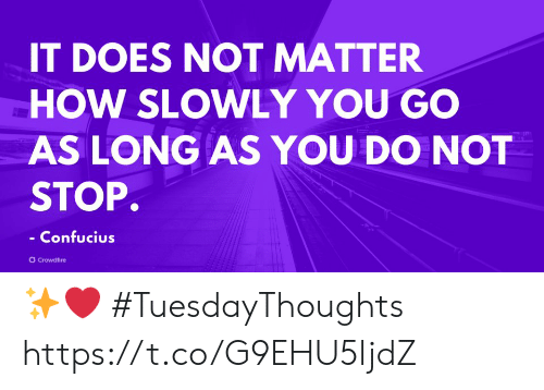 Memes, Confucius, and 🤖: IT DOES NOT MATTER  HOW SLOWLY YOU GO  AS LONG AS YOU DO NOT  STOP.  Confucius  rowdfire ✨❤️  #TuesdayThoughts https://t.co/G9EHU5ljdZ