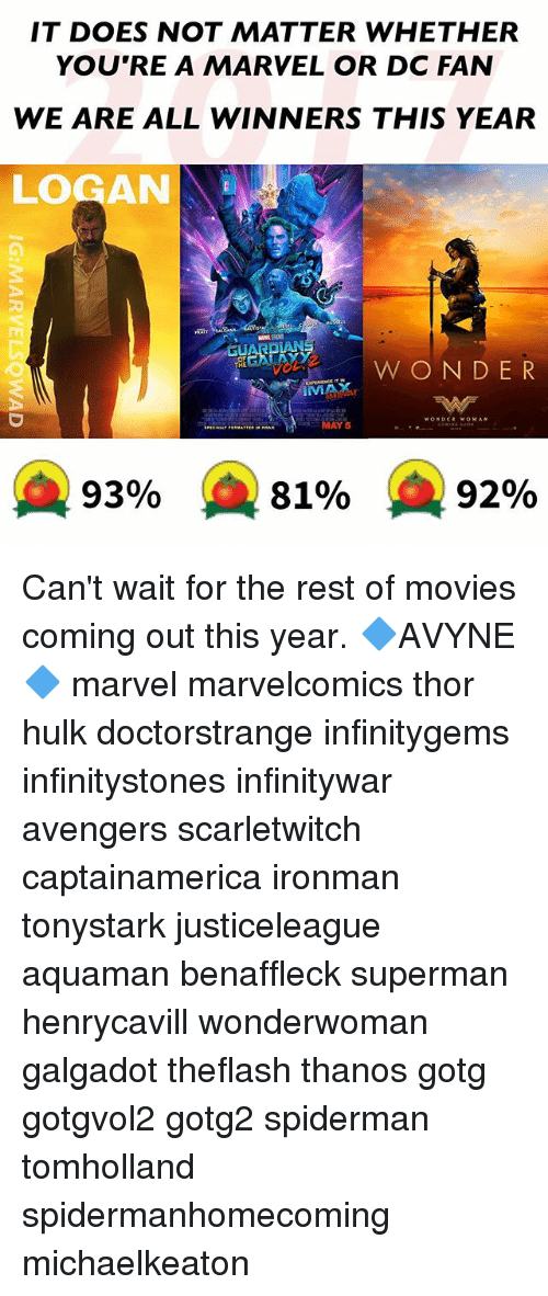 May 5: IT DOES NOT MATTER WHETHER  YOU'RE A MARVEL OR DC FAN  WE ARE ALL WINNERS THIS YEAR  LOGAN  BEGAN AYY  W ON DER  IMMAX  MAY 5  A 93%  81%  92% Can't wait for the rest of movies coming out this year. 🔷AVYNE🔷 marvel marvelcomics thor hulk doctorstrange infinitygems infinitystones infinitywar avengers scarletwitch captainamerica ironman tonystark justiceleague aquaman benaffleck superman henrycavill wonderwoman galgadot theflash thanos gotg gotgvol2 gotg2 spiderman tomholland spidermanhomecoming michaelkeaton