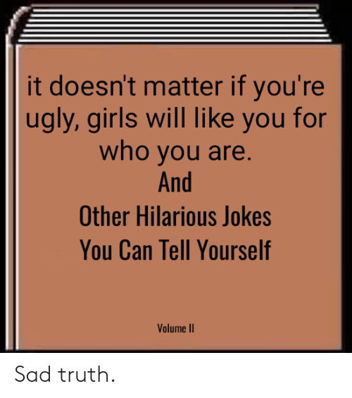 Girls, Ugly, and Jokes: it doesn't matter if you're  ugly, girls will like you for  who you are  And  Other Hilarious Jokes  You Can Tell Yourself  Volume II Sad truth.