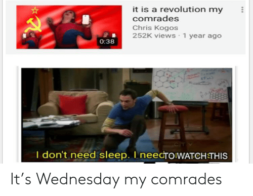 Reddit, Revolution, and Wednesday: it is a revolution my  comrades  Chris Kogos  252K views 1 year ago  0:38  I don't need sleep. I needroWATCHETHIS It's Wednesday my comrades