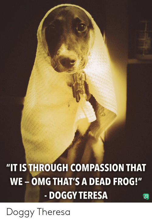 "Compassion: ""IT IS THROUGH COMPASSION THAT  WE-OMG THAT'S A DEAD FROG!""  - DOGGY TERESA Doggy Theresa"