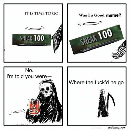sneak: IT IS TIME TO GO  Was I a Good meme?  SNEAK 100  SNEAK 100  No.  I'm told you were  Where the fuck'd he go  BITES  Chisal  seebangnow