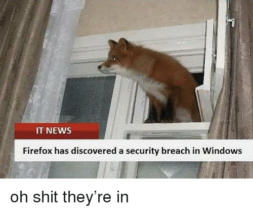 News, Shit, and Windows: IT NEWS  Firefox has discovered a security breach in Windows oh shit they're in