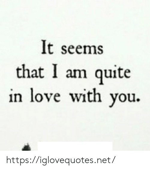 Love, Quite, and Net: It seems  that I am quite  in love with you. https://iglovequotes.net/