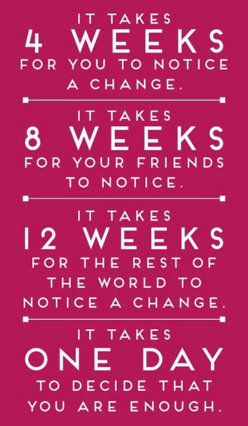 Friends, World, and Change: IT TAKES  4 WEEKS  FOR YOU TO NOTICE  A CHANGE  IT TAKES  8 WEEKS  FOR YOUR FRIENDS  TO NOTICE  IT TAKES  12 WEEKS  FOR THE REST OF  THE WORLD TO  NOTICE A CHANGE  IT TAKES  ONE DAY  TO DECIDE THAT  YOU ARE ENOUG H
