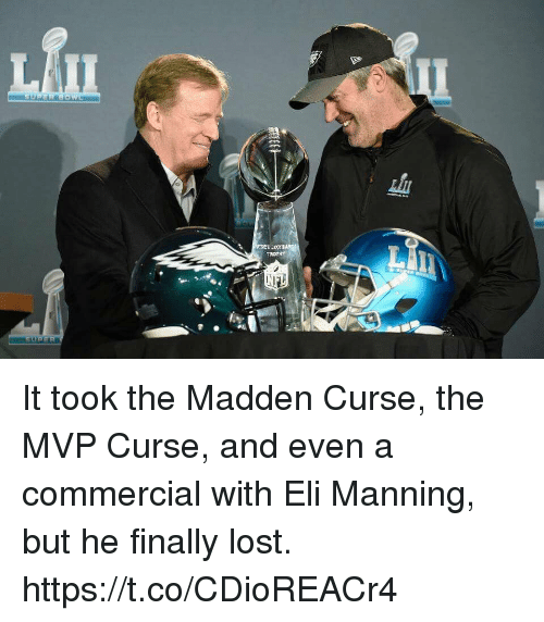 Eli Manning, Lost, and Madden: It took the Madden Curse, the MVP Curse, and even a commercial with Eli Manning, but he finally lost. https://t.co/CDioREACr4