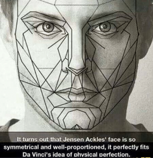 jensen: It turns out that Jensen Ackles' face is so  symmetrical and well-proportioned, it perfectly fits  Da Vinci's idea of phvsical perfection.