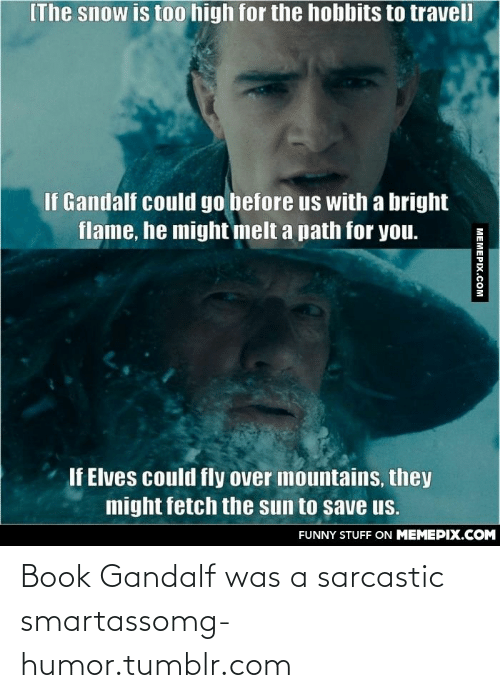 The Hobbits: IThe snow is to0 high for the hobbits to travel  If Gandalf could go before us with a bright  flame, he might melt a path for you.  If Elves could fly over mountains, they  might fetch the sun to save us.  FUNNY STUFF ON MEMEPIX.COM  MEMEPIX.COM Book Gandalf was a sarcastic smartassomg-humor.tumblr.com