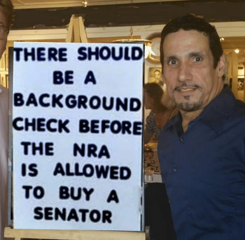 nra: ITHERE SHOULD  BE A  BACKGROUND  CHECK BEFORE  THE NRA  IS ALLOWED  TO BUY A  SENATOR