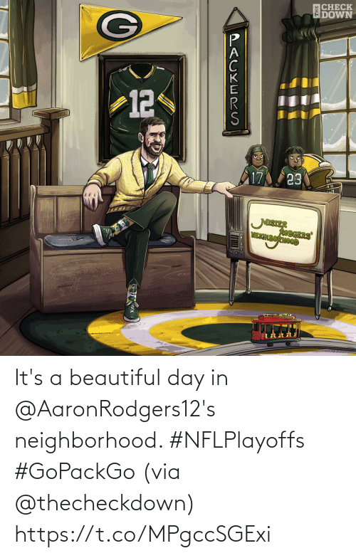 Its A: It's a beautiful day in @AaronRodgers12's neighborhood. #NFLPlayoffs #GoPackGo  (via @thecheckdown) https://t.co/MPgccSGExi