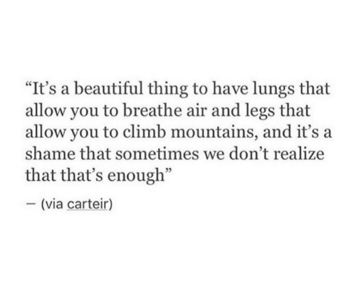 "Beautiful Thing: ""It's a beautiful thing to have lungs that  allow you to breathe air and legs that  allow you to climb mountains, and it's a  shame that sometimes we don't realize  that that's enough""  - (via carteir)"