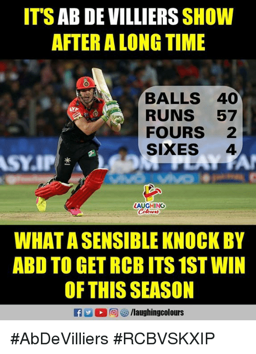 Time, Indianpeoplefacebook, and Ab De Villiers: IT'S AB DE VILLIERS SHOW  AFTER A LONG TIME  BALLS 40  RUNS 57  FOURS 2  SIXES 4  LAUGHING  Coloers  WHAT A SENSIBLE KNOCK BY  ABD TO GET RCB ITS 1ST WIN  OF THIS SEASON  RA2 回矽/laughingcolours #AbDeVilliers #RCBVSKXIP