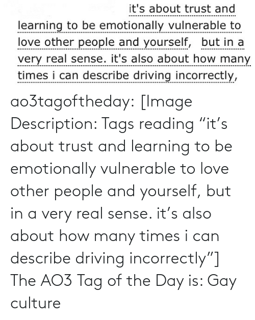 "Driving: it's about trust and  learning to be emotionally vulnerable to  love other people and yourself, but in a  very real sense. it's also about how many  times i can describe driving incorrectly, ao3tagoftheday:  [Image Description: Tags reading ""it's about trust and learning to be emotionally vulnerable to love other people and yourself, but in a very real sense. it's also about how many times i can describe driving incorrectly""]  The AO3 Tag of the Day is: Gay culture"