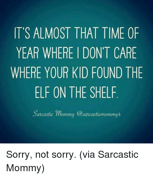 Elf on the shelf: IT'S ALMOST THAT TIME OF  YEAR WHERE I DONT CARE  WHERE YOUR KID FOUND THE  ELF ON THE SHELF  arcastic mommu @sarcasticmommyt Sorry, not sorry.  (via Sarcastic Mommy)