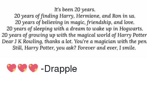 It's Been 20 Years 20 Years of Findinq Harry Hermione and