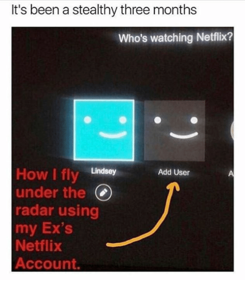 Dank, Ex's, and Netflix: It's been a stealthy three months  Who's watching Netflix?  How I fly Lindsey  under the(  radar using  my Ex's  Netflix  Account.  Add User