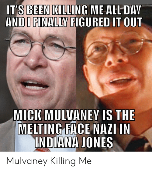dav: IT'S BEEN KILLING ME ALL DAV  AND I FINALLY FIGURED IT OUT  MICK MULVANEY IS THE  MELTING FACE NAZI IN  INDIANA JONES Mulvaney Killing Me