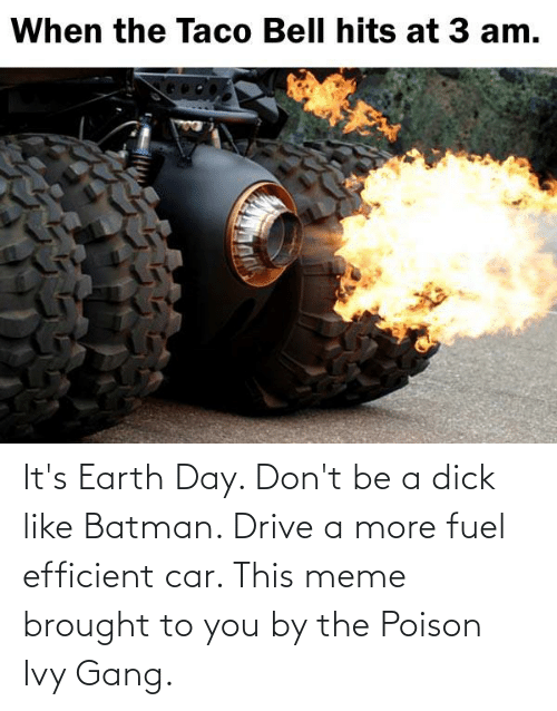 Batman: It's Earth Day. Don't be a dick like Batman. Drive a more fuel efficient car. This meme brought to you by the Poison Ivy Gang.