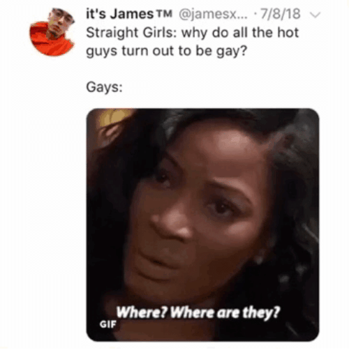 where are they: it's James TM @jamesx... 7/8/18  Straight Girls: why do all the hot  guys turn out to be gay?  Gays:  Where? Where are they?  GIF