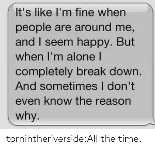 Tumblr, Blog, and Break: It's like I'm fine when  people are around me,  and I seem happy. But  when I'm aloneI  completely break down  And sometimes I don't  even know the reason  why tornintheriverside:All the time.