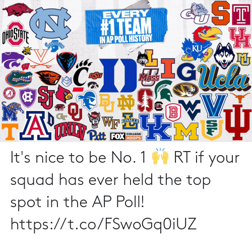 If Your: It's nice to be No. 1 🙌  RT if your squad has ever held the top spot in the AP Poll! https://t.co/FSwoGq0iUZ
