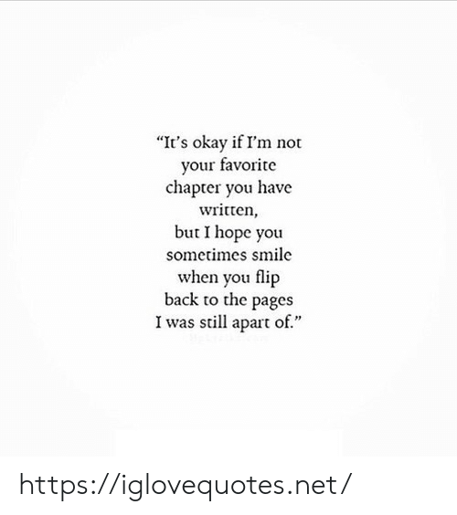 "Okay, Smile, and Hope: ""It's okay if I'm not  your favorite  chapter you have  written  but I hope you  sometimes smile  when you flip  back to the pages  I was still apart of."" https://iglovequotes.net/"
