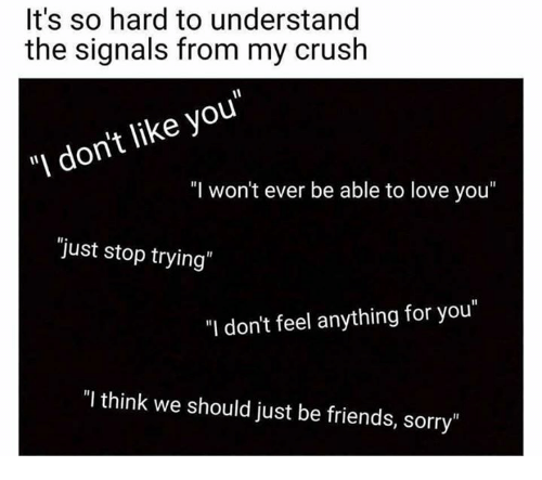 """Understandably: It's so hard to understand  the signals from my crush  """"I don't like you""""  """"I won't ever be able to love you""""  """"just stop trying  """"I don't feel anything for you""""  """"I think we should just be friends, sorry"""""""