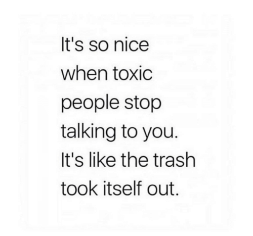 Trash, Nice, and You: It's so nice  when toxic  people stop  talking to you  It's like the trash  took itself out.