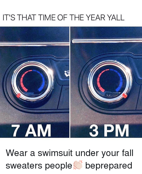 sweaters: IT'S THAT TIME OF THE YEAR YALL  O1O  7 AM  3 PM Wear a swimsuit under your fall sweaters people👏🏻 beprepared