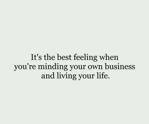 its the best: It's the best feeling when  you're minding your own business  and living your life.