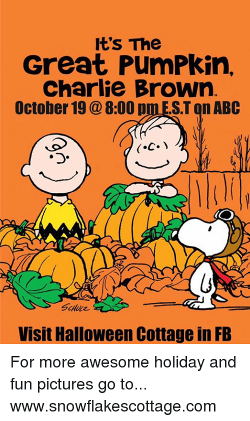 Abc, Charlie, and Halloween: It's The  Great PumPkin,  Charlie Brown  October 19 8:00 p  ST on ABC  Visit Halloween Cottage in FB For more awesome holiday and fun pictures go to... www.snowflakescottage.com